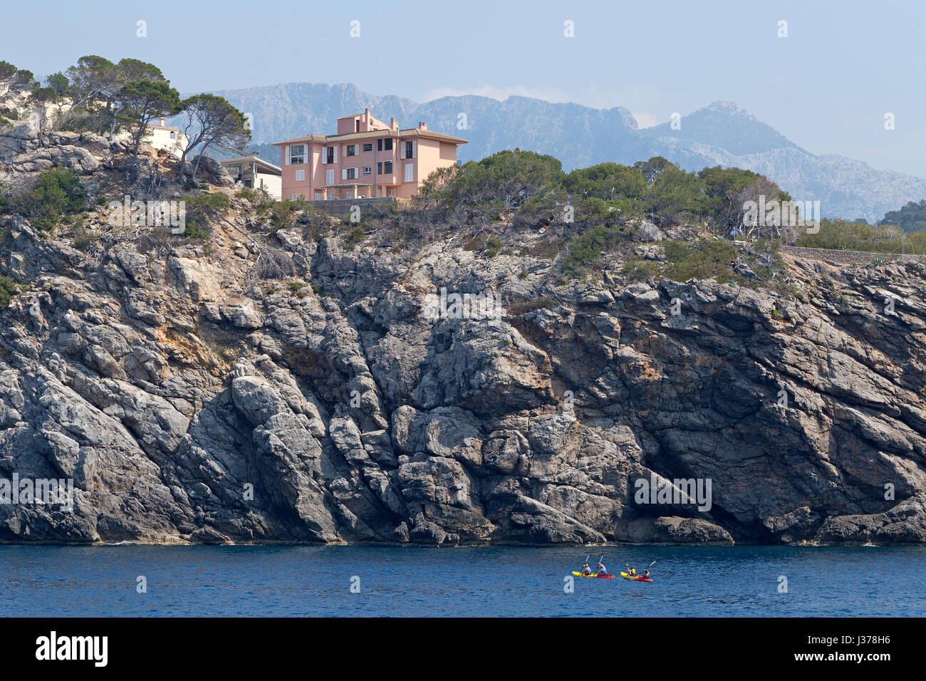 house on the cliffs in Port de Sóller, Mallorca, Spain - Stock Image