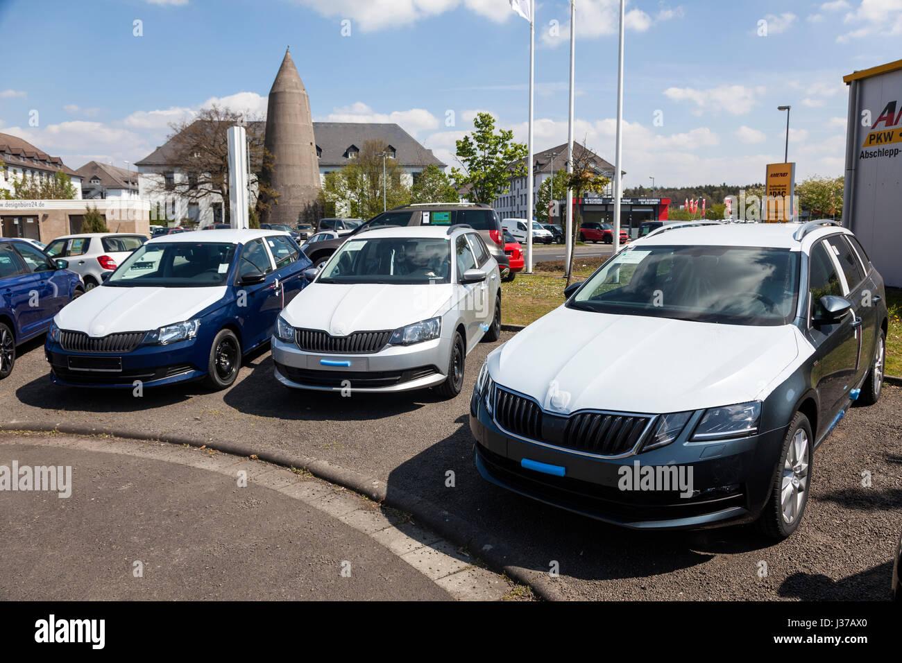 Frankfurt, Germany - March 30, 2017: New Skoda Fabia and Octavia cars at a dealership in Frankfurt, Germany - Stock Image