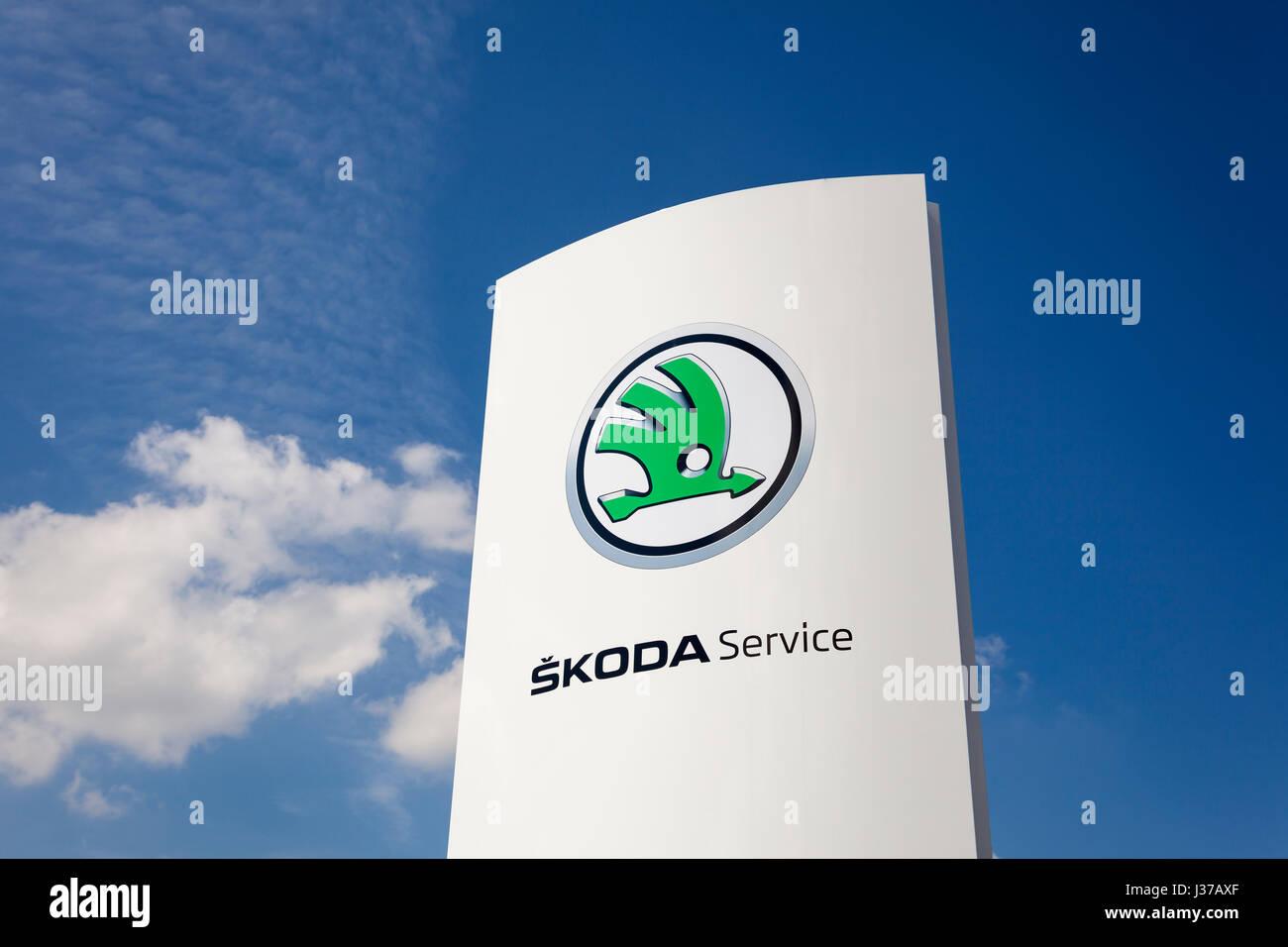 Frankfurt, Germany - March 30, 2017: Skoda automobile dealership in the city of Frankfurt, Germany - Stock Image
