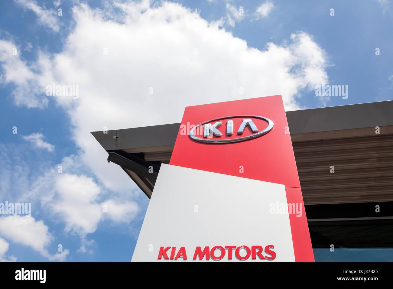 Frankfurt, Germany - March 30, 2017: Kia Motors dealership in the city of Frankfurt. Toyota is world's leader - Stock Image