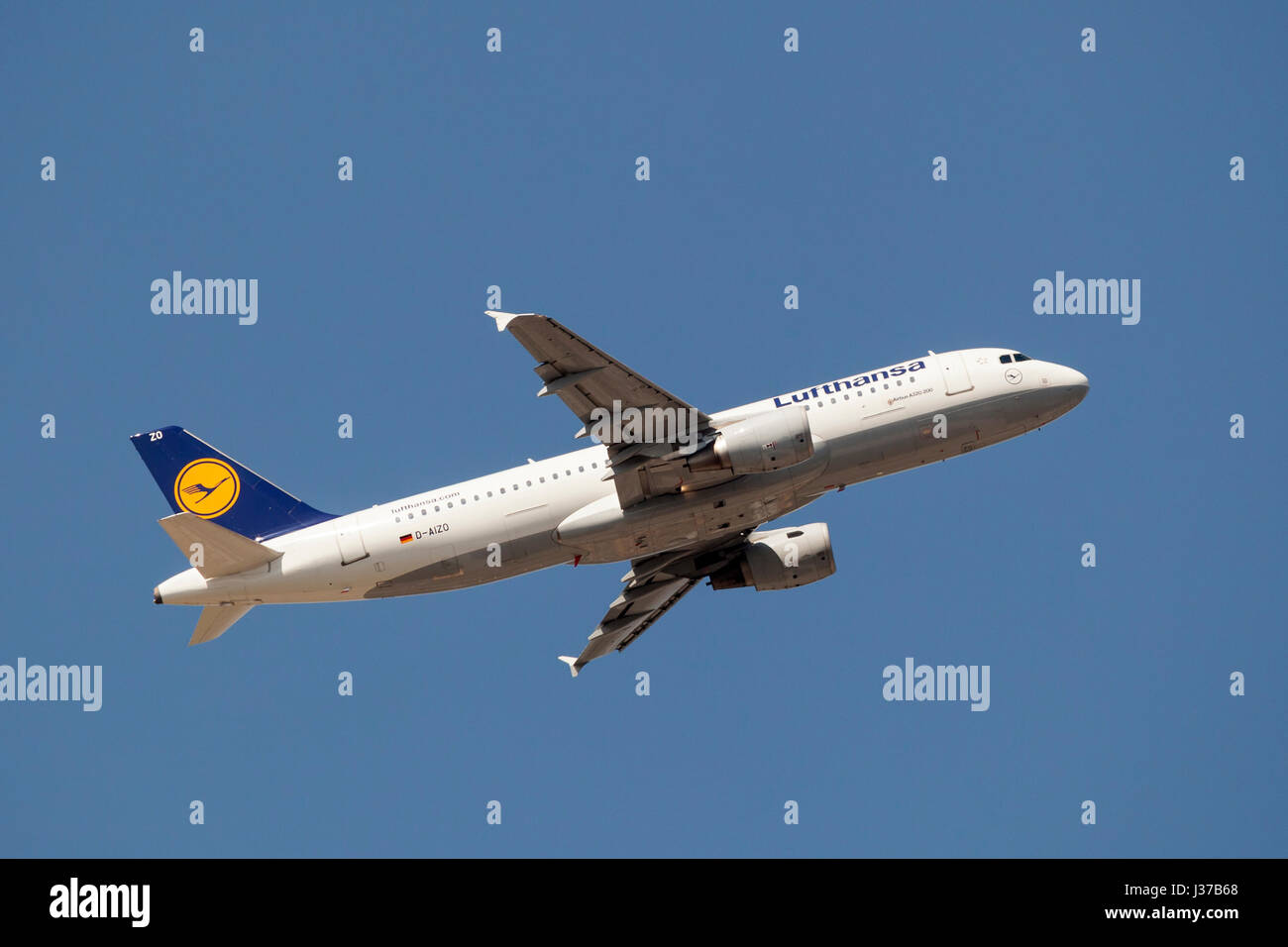 Frankfurt, Germany - March 30, 2017: Lufthansa airlines Airbus A320-200 after take off at the Frankfurt international - Stock Image