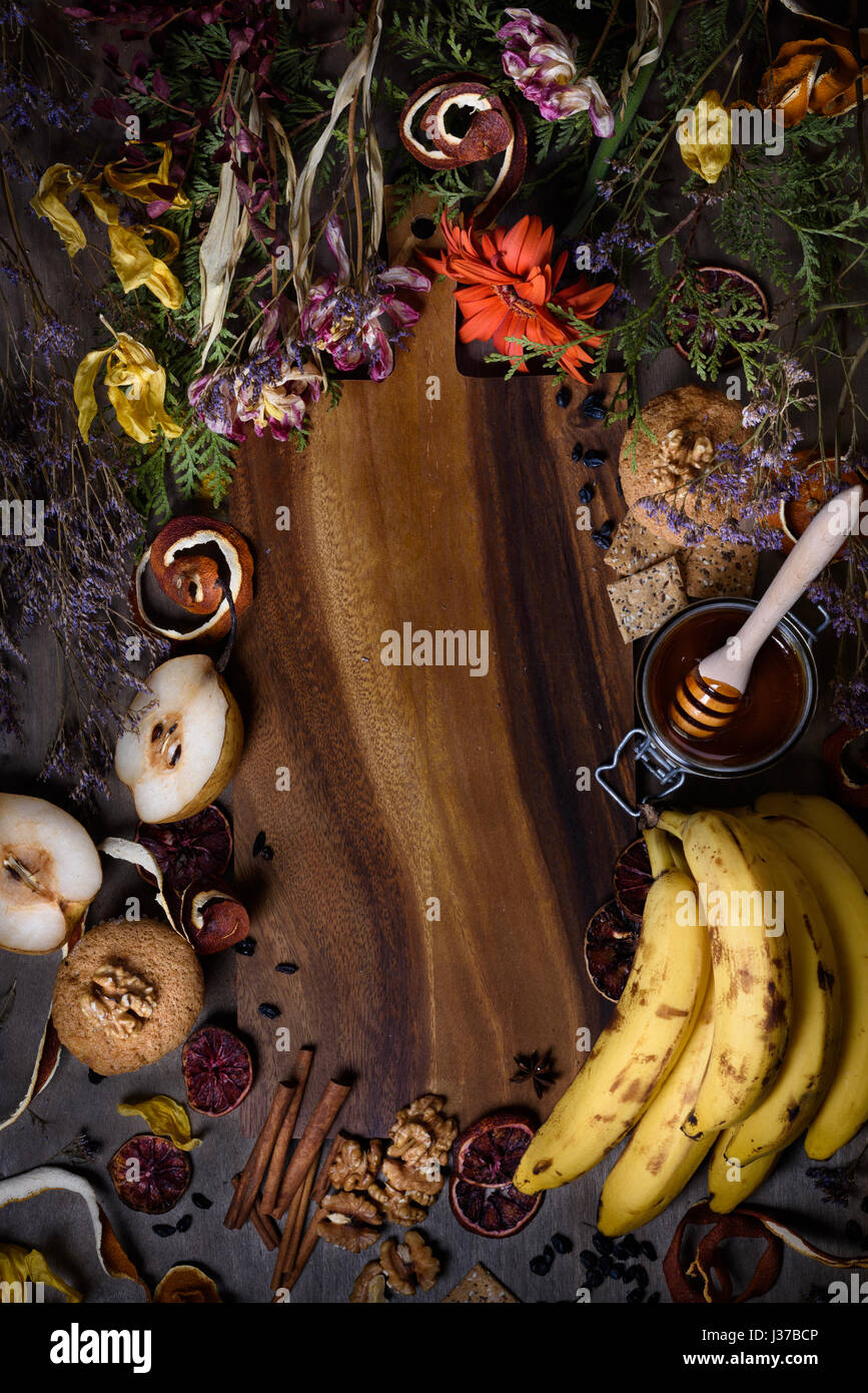 Overhead view of ingredients for vegetarian pastry on a cutting board. Top view, copy space. - Stock Image