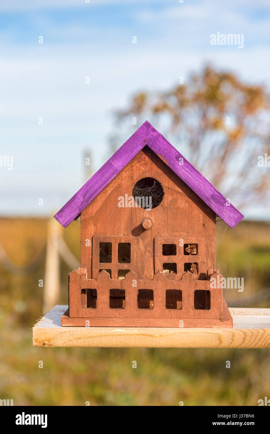 Close up of tiny and colorful wood house. Illustration for Real Estate or Construction. - Stock Image