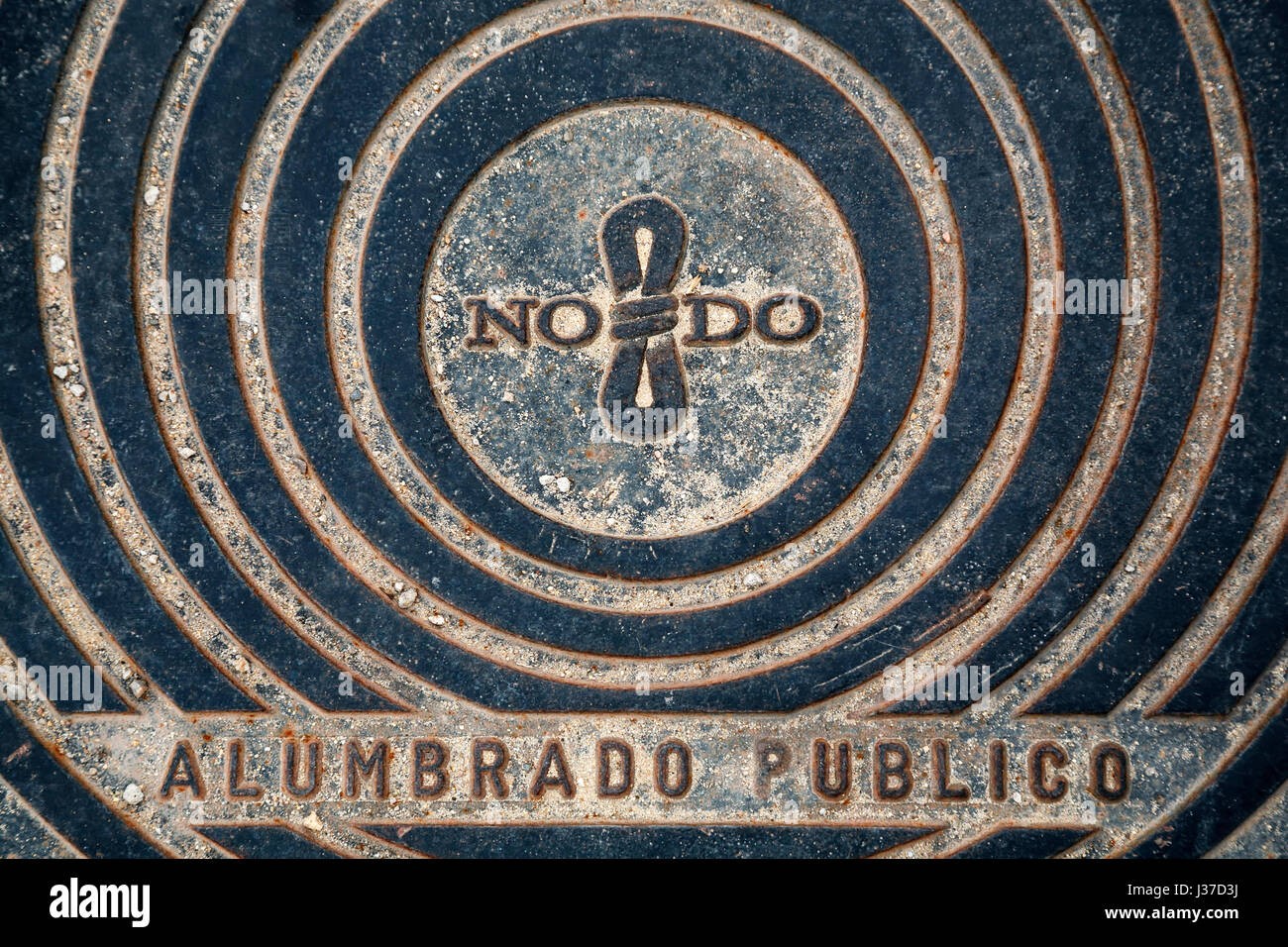NO8DO utility manhole cover, Seville, Spain - Stock Image