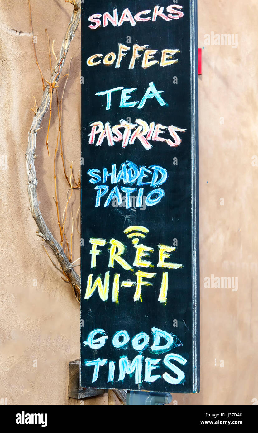 Sign outside a cafe, Canyon Road, Santa Fe, New Mexico USA - Stock Image