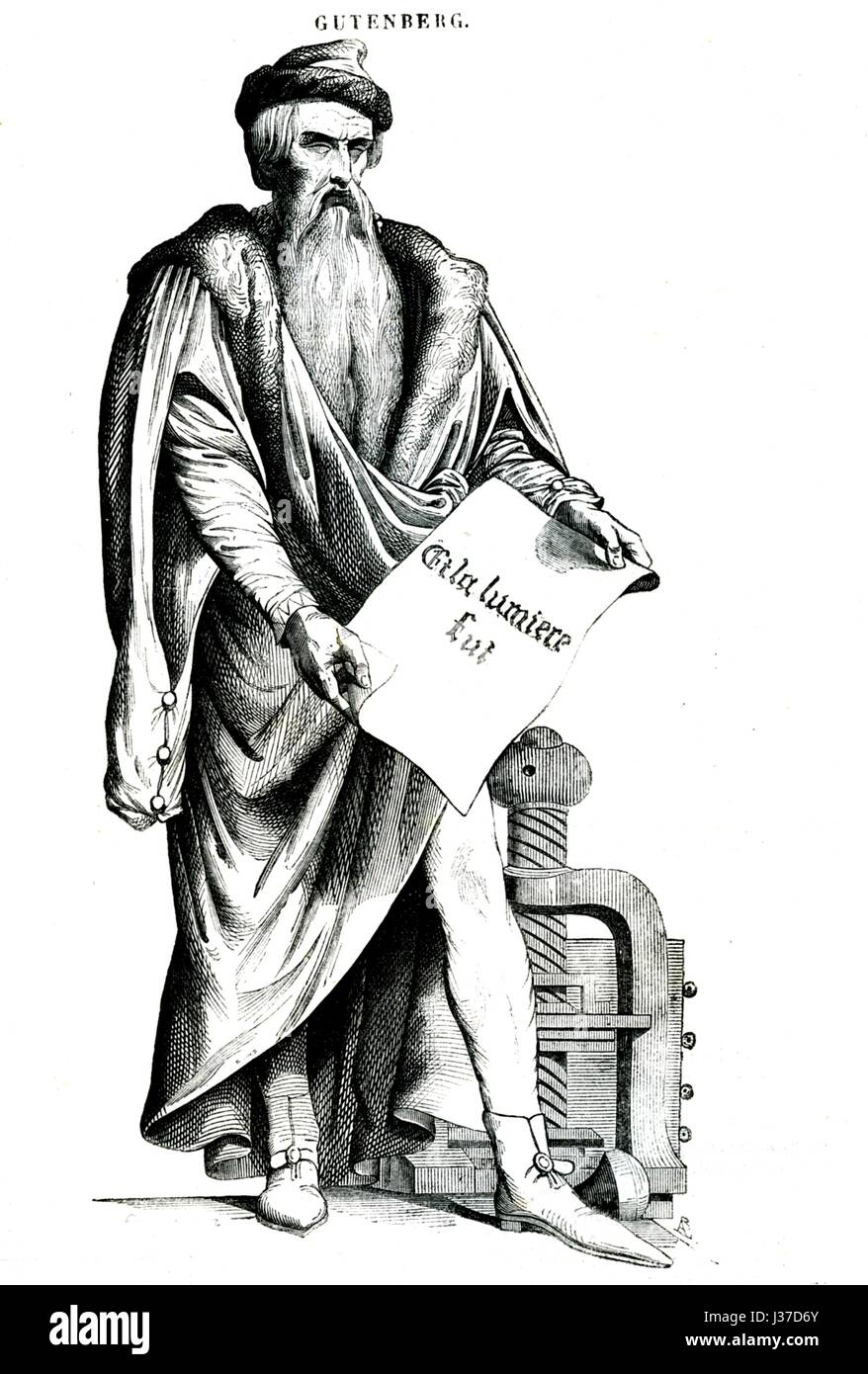 German Printer Stock Photos Images Alamy Johannes Gutenberg Printing Press Diagram 1400 1468 During The Renaissance And Inventor