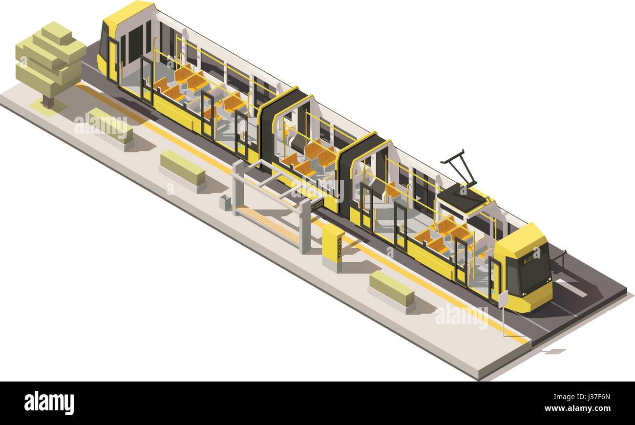 Vector isometric low poly low-floor tram - Stock Image