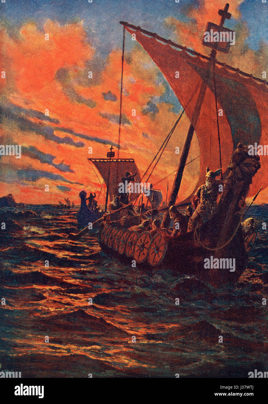 The return home of a Viking fleet after a raid.  From Hutchinson's History of the Nations, published 1915. - Stock Image