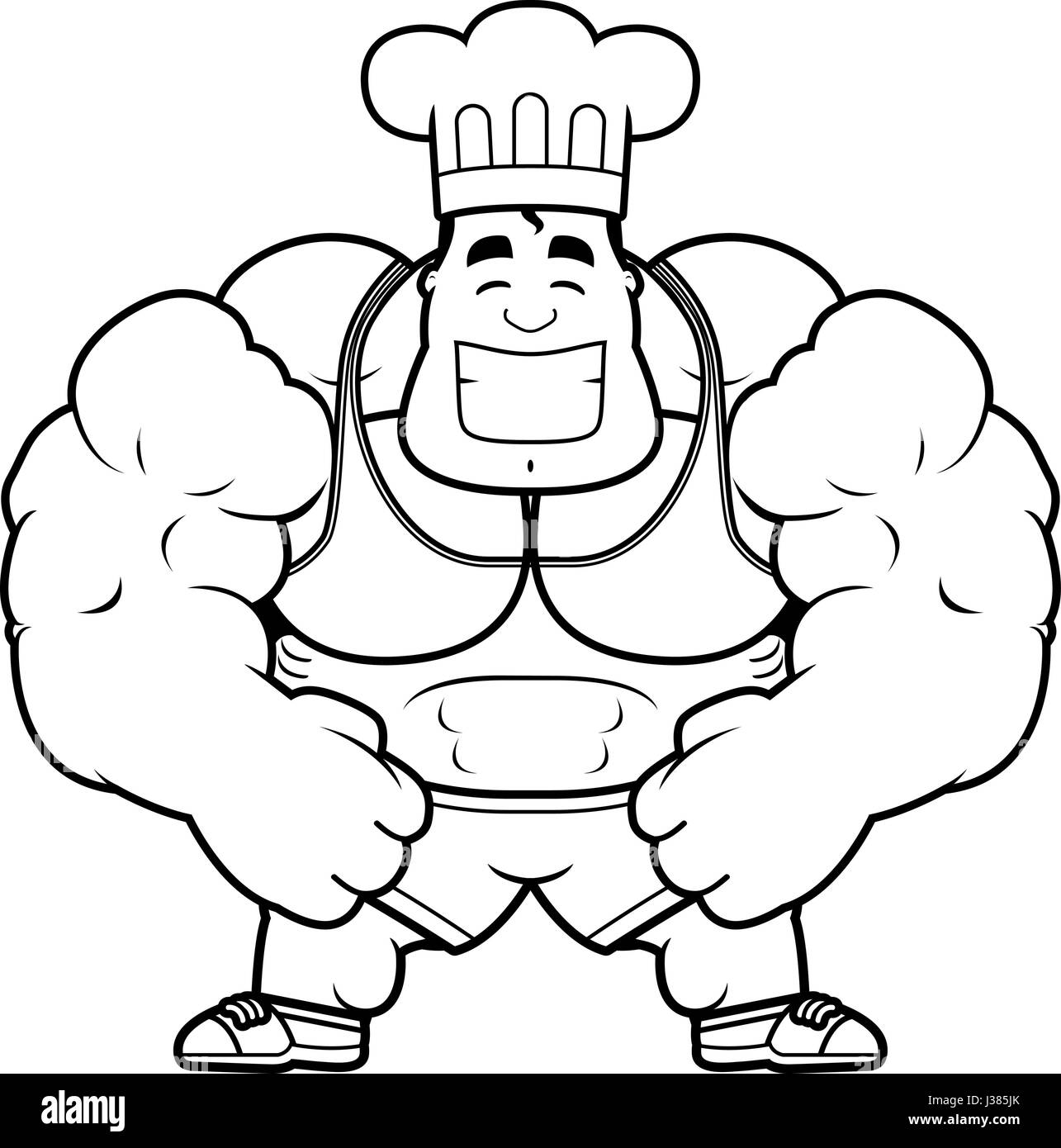 Bodybuilder Flexing Muscles Cartoon Stock Photos Bodybuilder