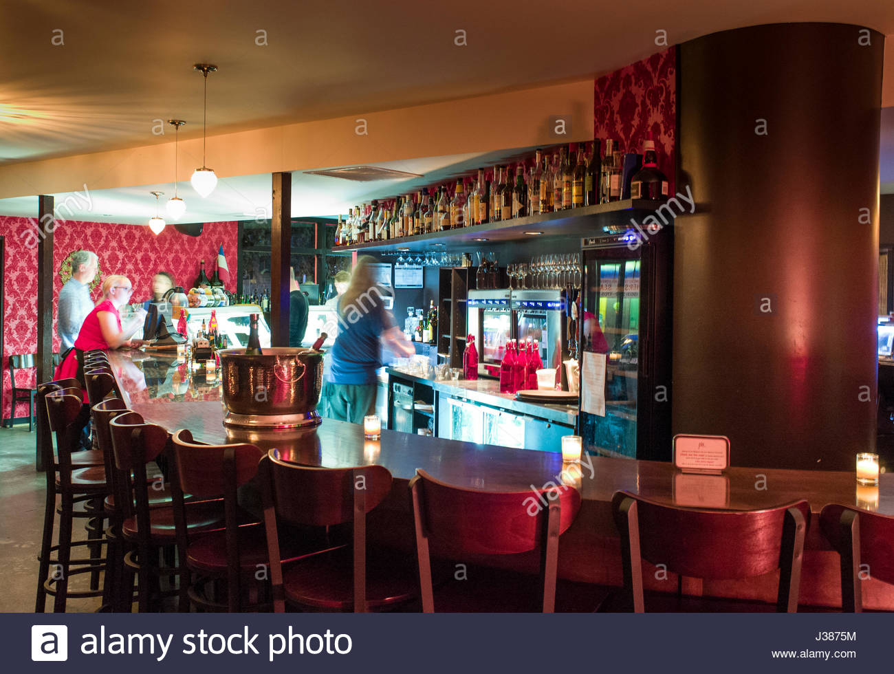 People enjoying food and drinks inside Pix Patisserie, 2225 E Burnside Street, Portland, Multnomah County, Oregon, - Stock Image
