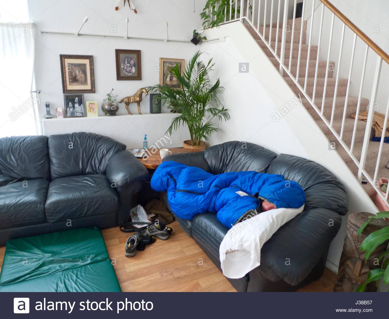 Brilliant Man Sleeping On Couch In Sleeping Bag Eugene Lane County Ncnpc Chair Design For Home Ncnpcorg
