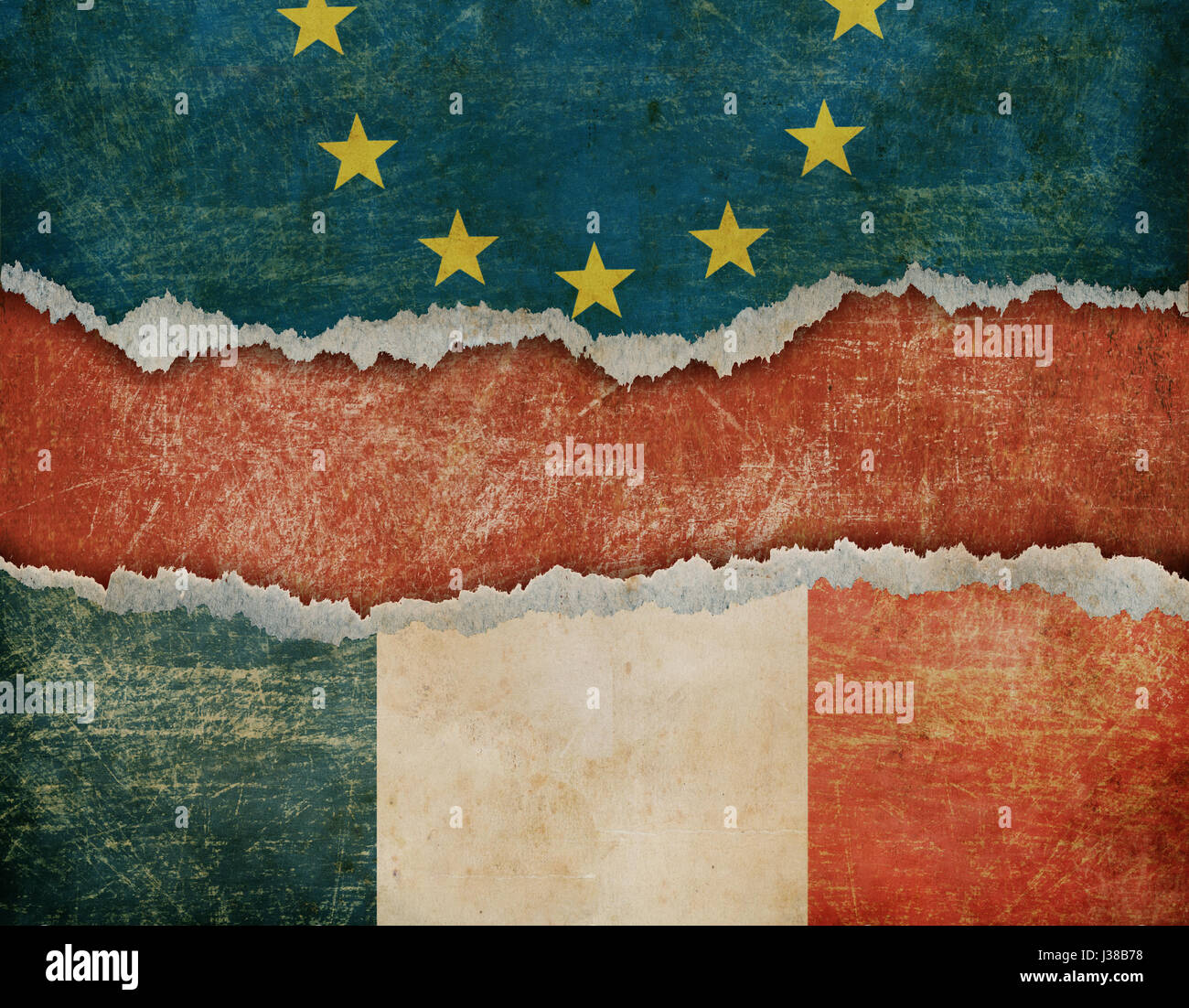 Possible France withdrawal from European union Frexit concept 3d illustration - Stock Image