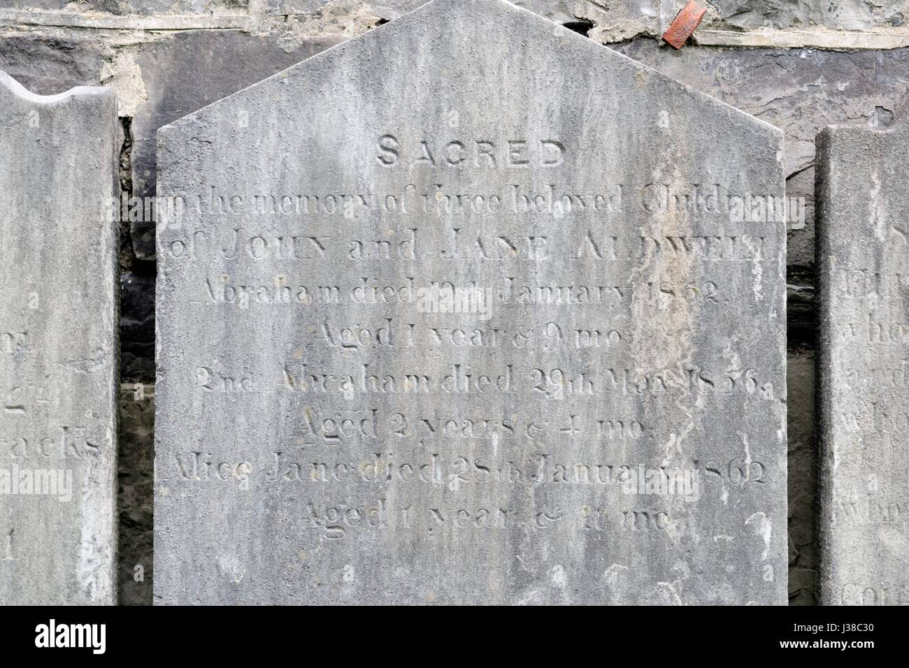 One of the tombstones of British military personnel who died in the Dublin area in the 19th and early 20th century - Stock Image