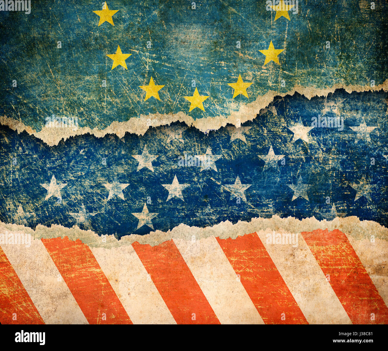 European union and USA flags on cardboard pieces 3d illustration - Stock Image