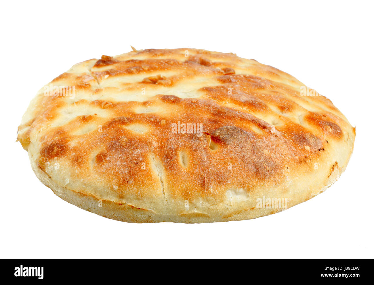 Traditional homemade round bread isolated on a white background - Stock Image