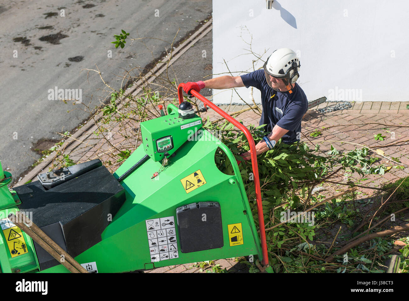 GreenMech Arborist 150 Wood chipper Tree surgeon Arboriculture Branch disposal Foliage Machine Manual worker Protective - Stock Image