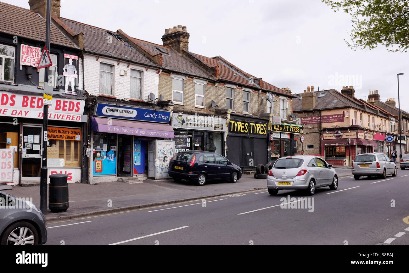 Shopping parade Thornton Heath and Crystal Palace in Borough of Croydon South London UK Photograph taken by Simon - Stock Image