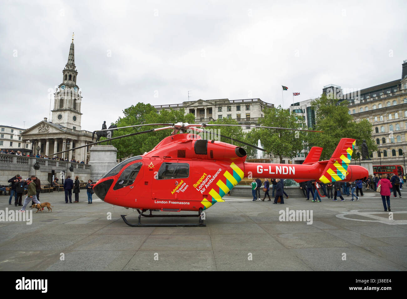 London Air Ambulance helicopter in Trafalgar Square. Advanced trauma team Air ambulance helicopter. Air ambulance - Stock Image