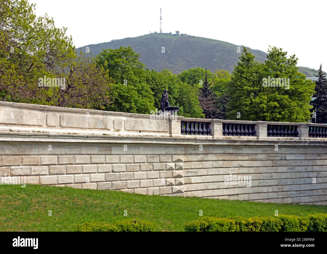 View Of The Beautiful Mount Mashuk and the ancient wall in Pyatigorsk,Northern Caucasus,Russia. - Stock Image