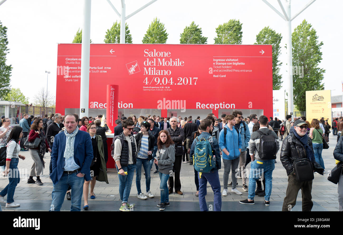 Entrance Gate Of The International Salone Del Mobile At Rho Fiera, During  The Annual Design Week, In Milan, Italy.