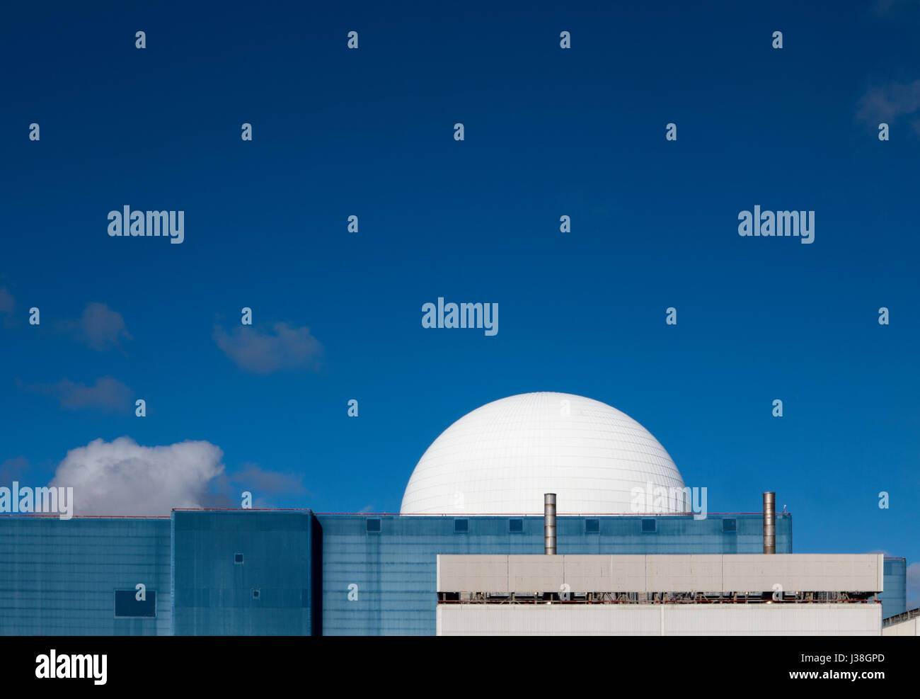 Close shot of Sizewell B nuclear power station against a blue sky - Stock Image