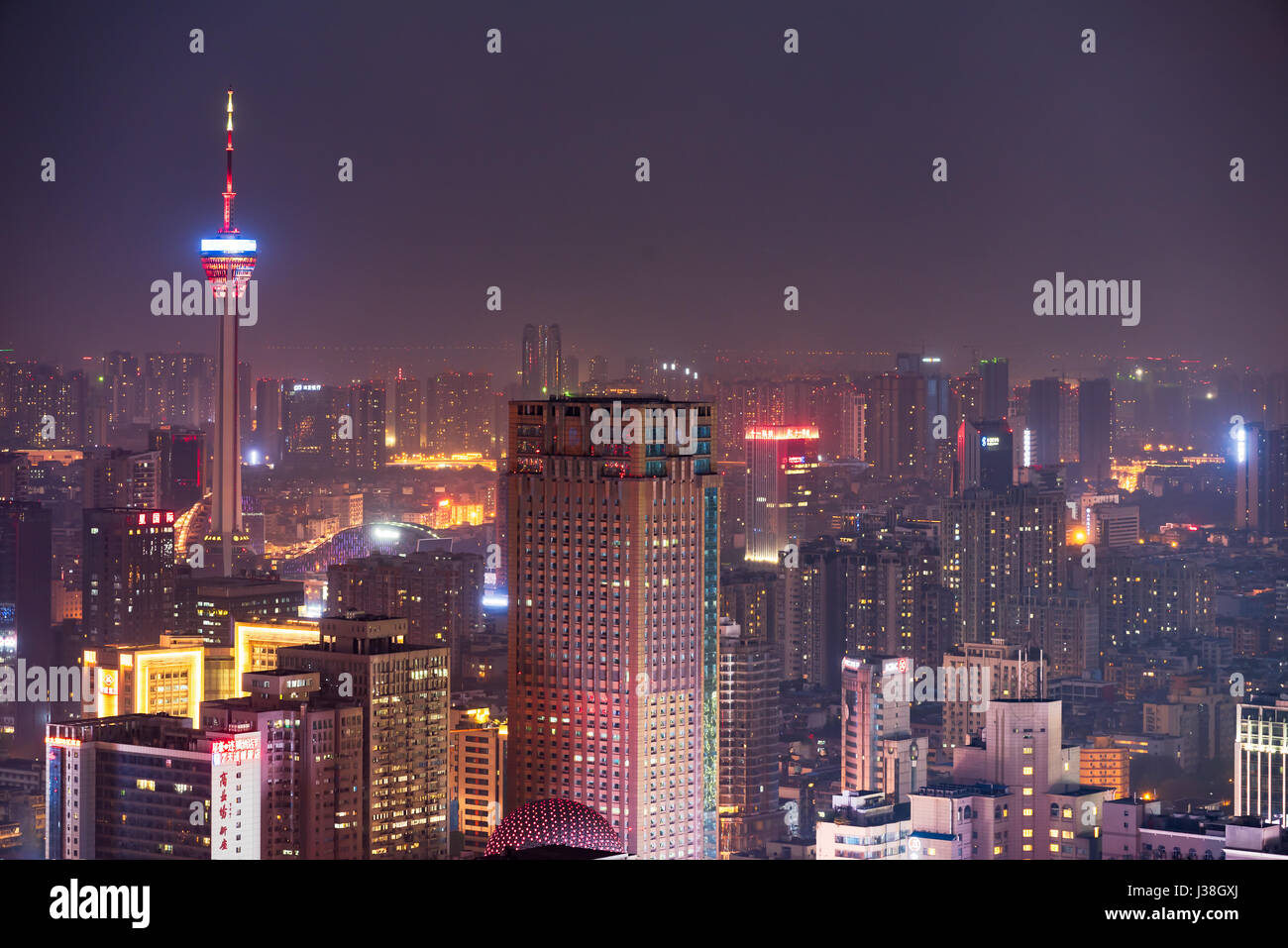 Chengdu, Sichuan Province, China - Apr 9, 2017:  Sichuan TV tower and buildings aerial view at night - Stock Image