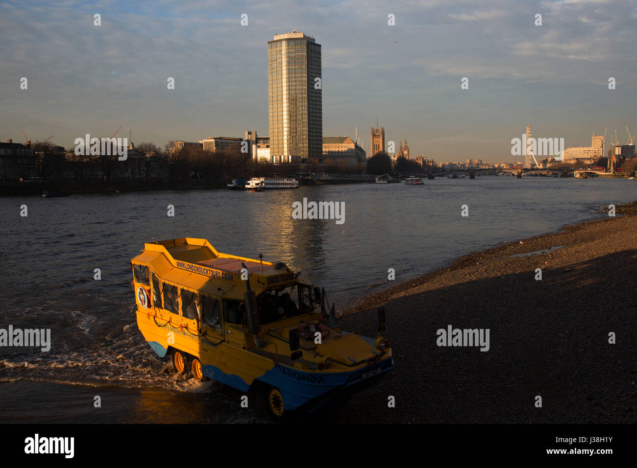 Duck Tours London amphibious vehicle driving out of the River Thames at Vauxhall in London, United Kingdom. This - Stock Image