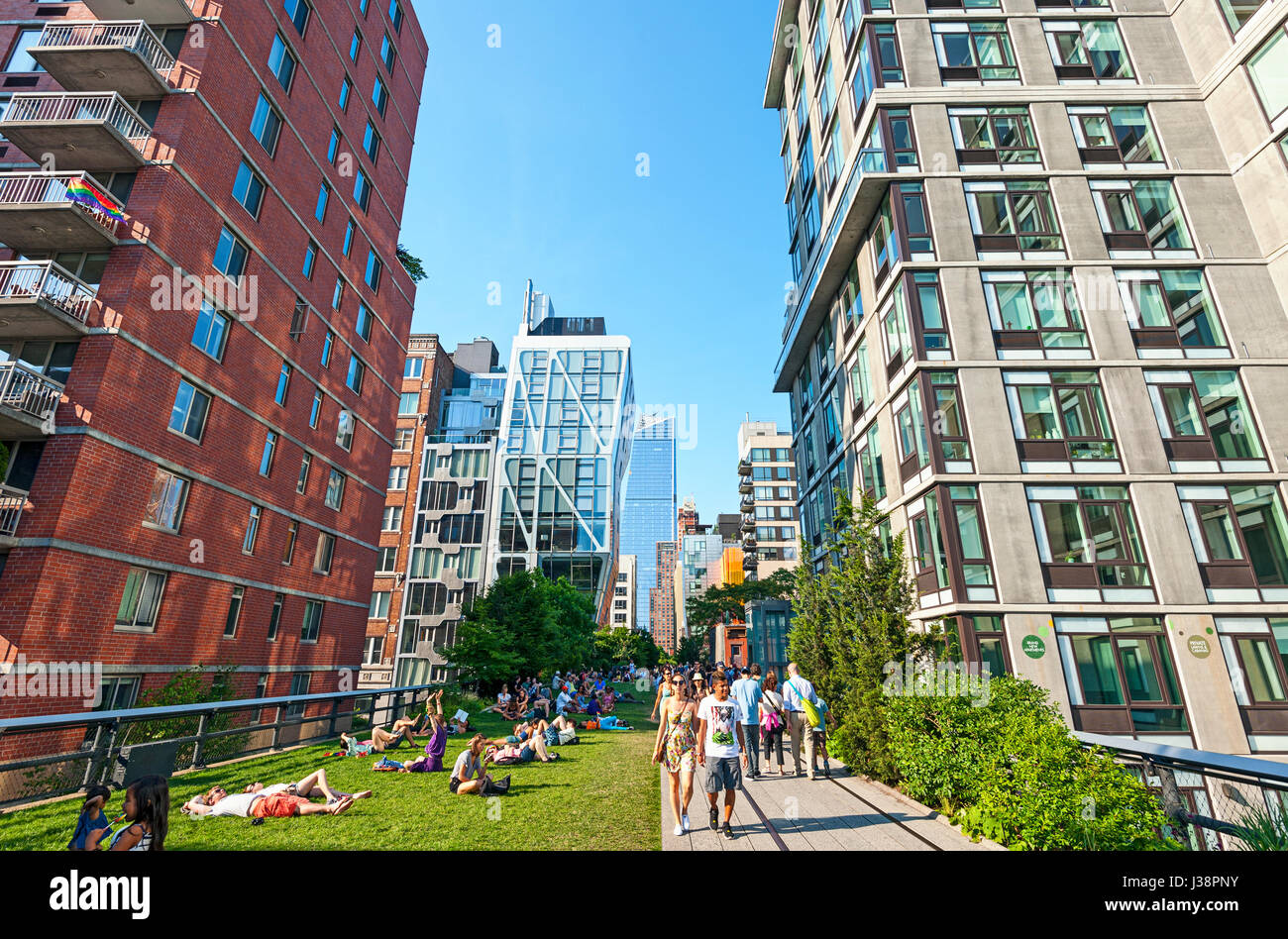 High Line New York City Chelsea Manhattan - Stock Image