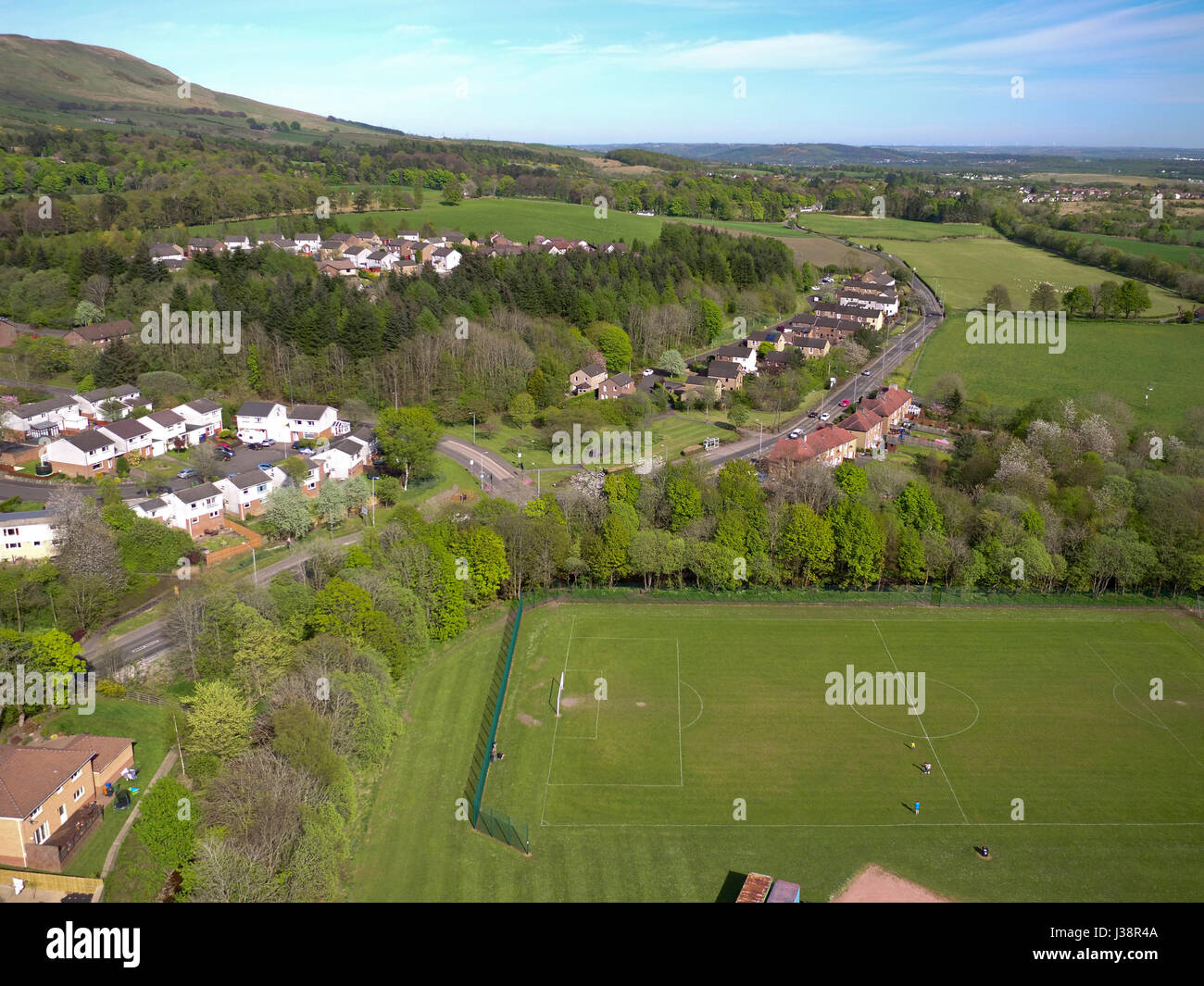 Aerial drone photo of Lennoxtown East Dunbartonshire Stock Photo
