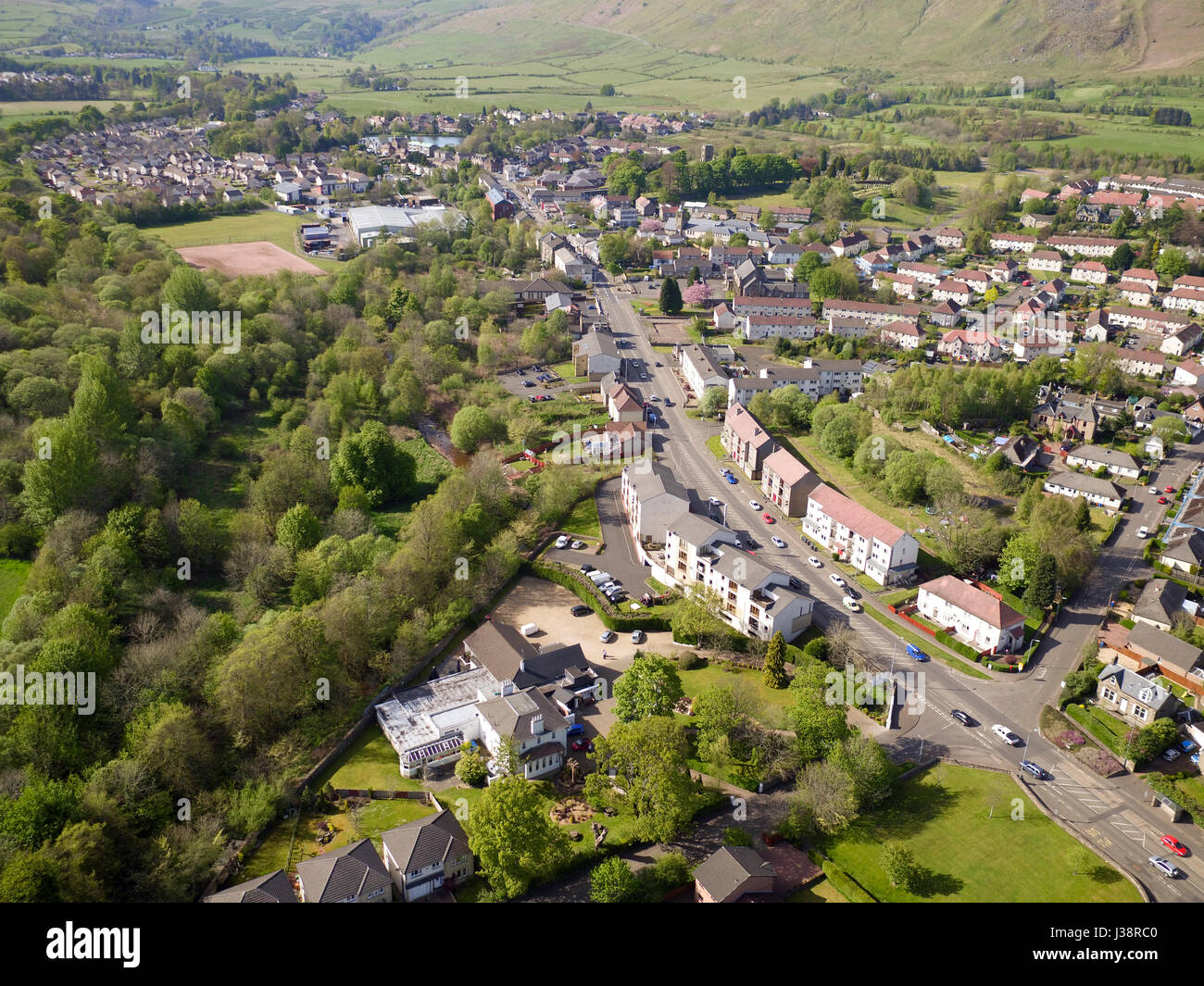 Aerial drone photo of Lennoxtown East Dunbartonshire - Stock Image