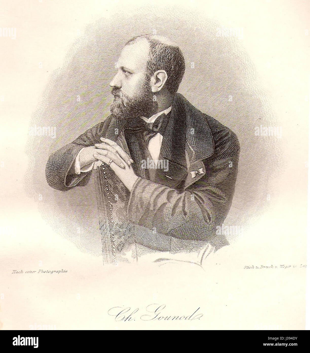 Charles Gounod, Stahlstich 1863 - Stock Image