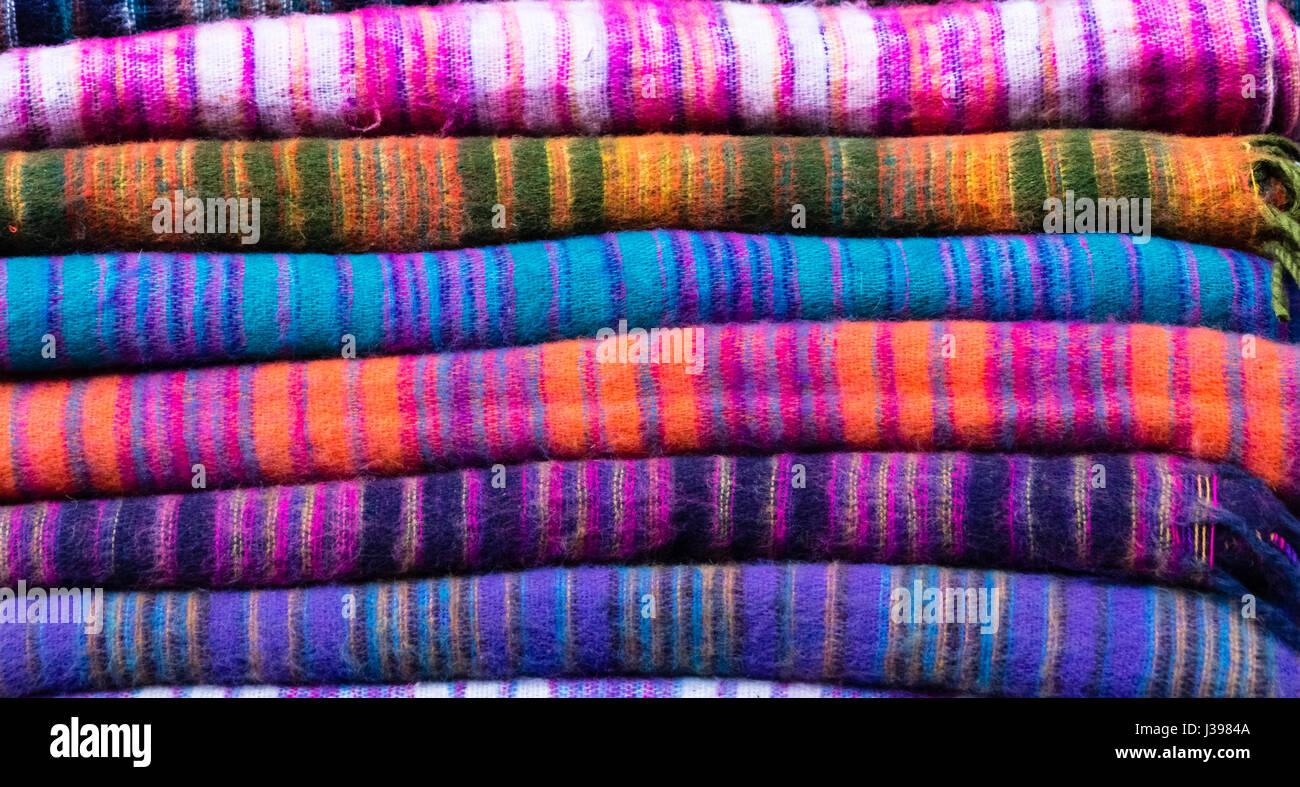 Colourful Yak Wool Blankets in Namche Bazaar, Nepal - Stock Image