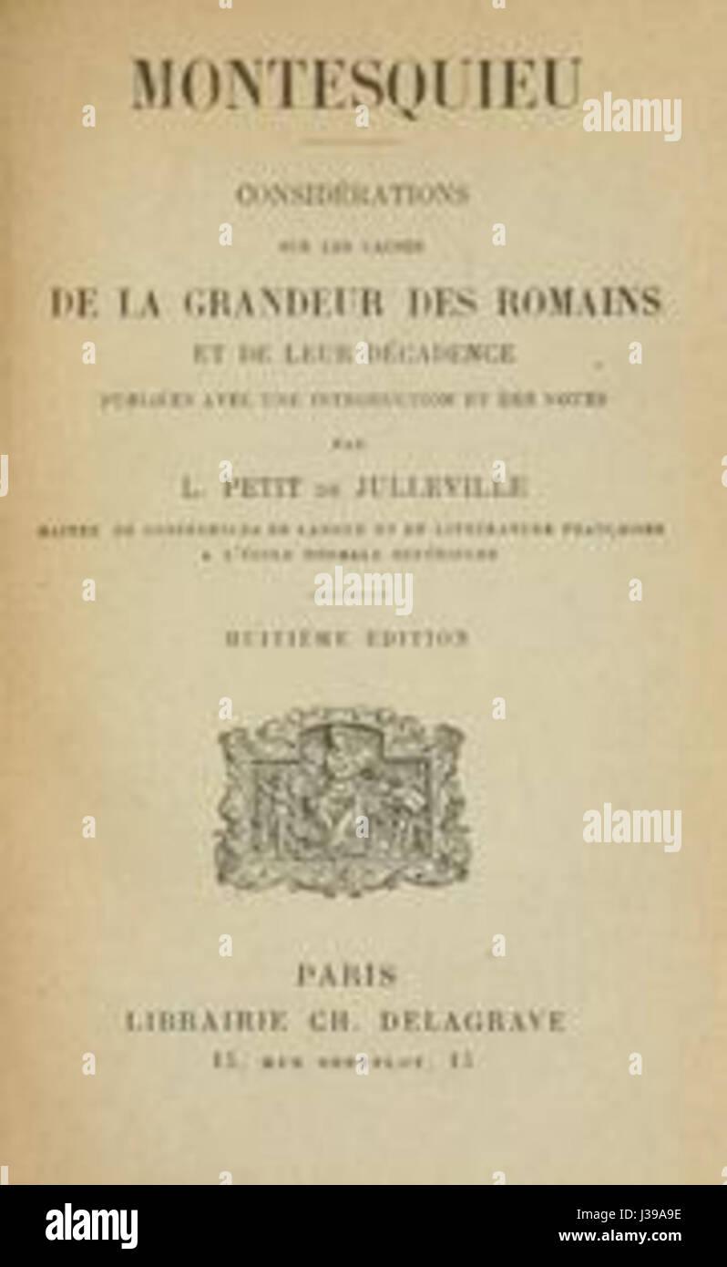 Considerations des Romains   Montesquieu Stock Photo