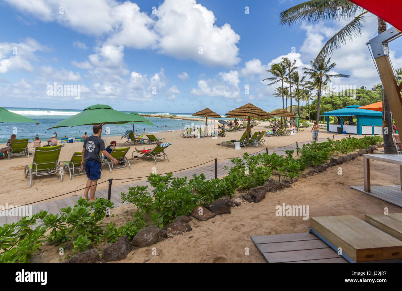 Oct 26 2016, Kahuku Hawaii.Tourists enjoying the Beach at the Turtle Bay Resort on the Island Of Oahu on its north - Stock Image