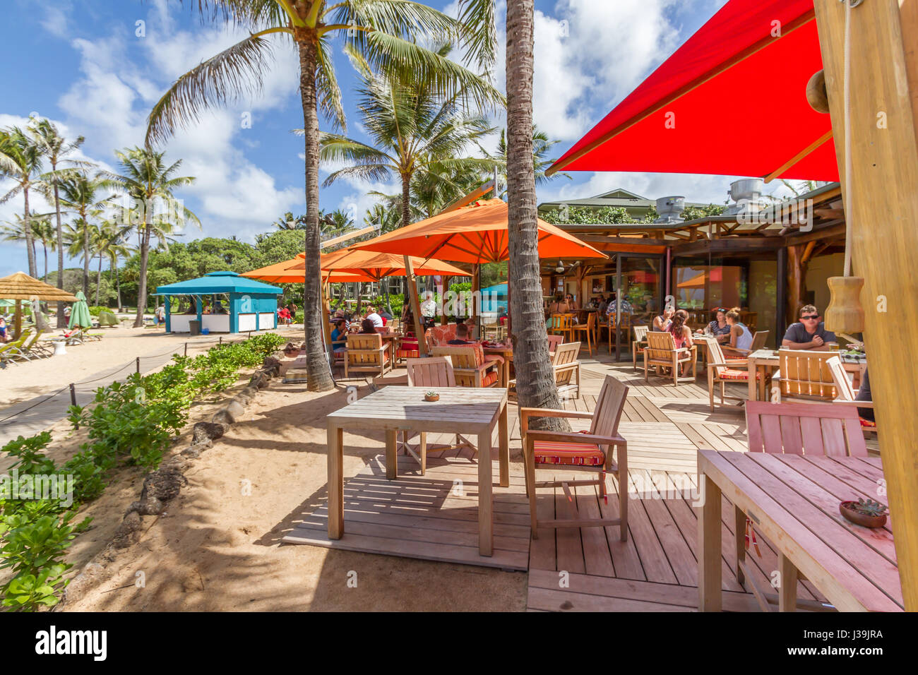 Kahuku, Hawaii, Oct. 12 2016: Roy's Beach house Restaurant at the Turtle Bay Resort on the north shore of Oahu - Stock Image