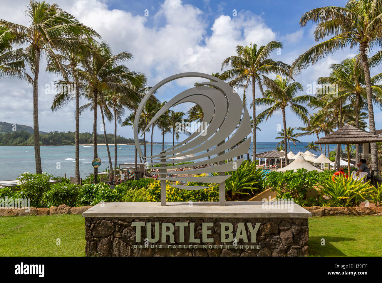 Nov. 2 2015, Turtle bay Resort, Kahuku Hawaii , view of sign, Ocean and pool bar - Stock Image