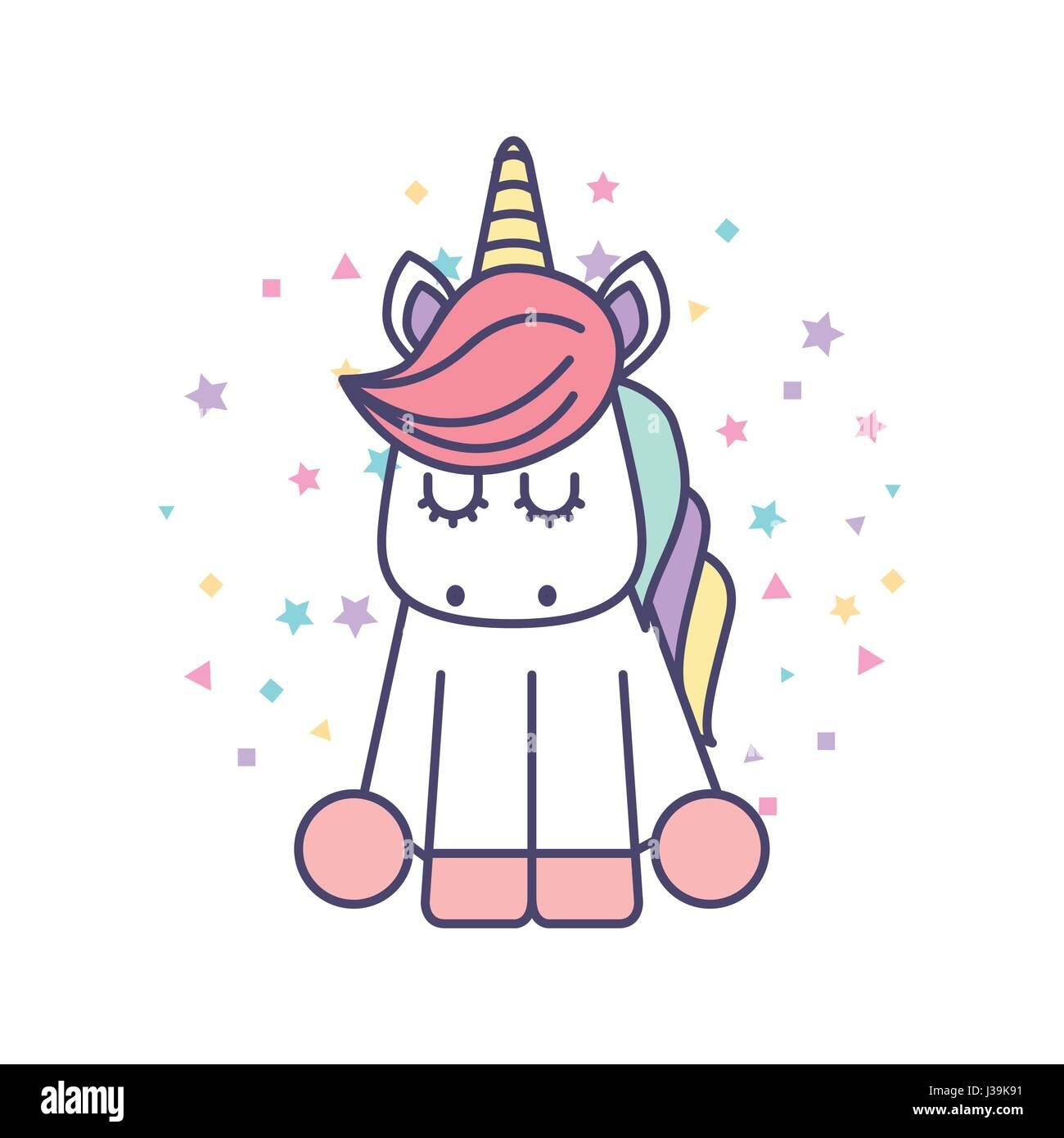 Drawing Cute Unicorn Icon Stock Vector Art Illustration