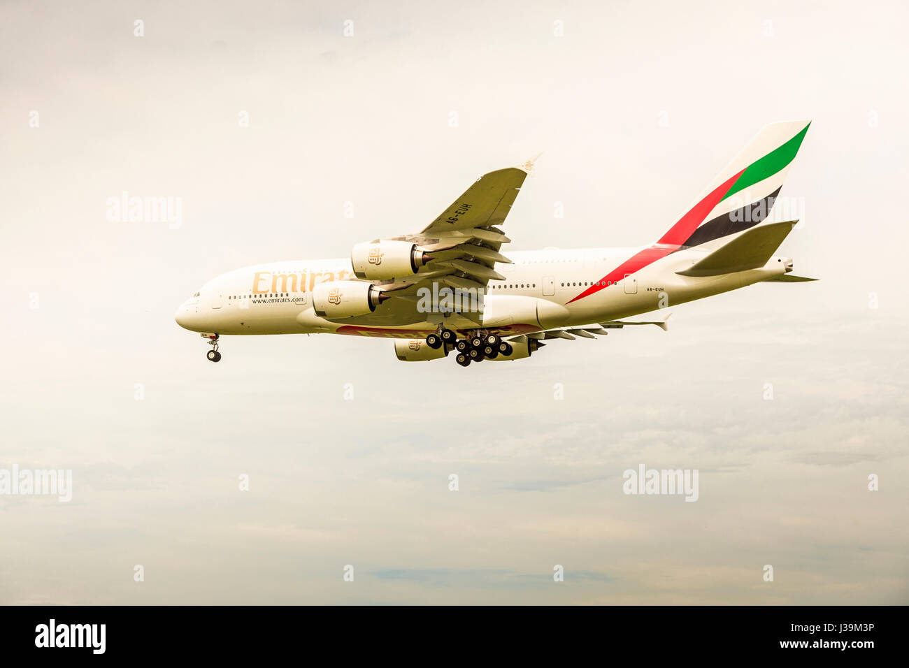 Emirates Airbus A380 on final approach at CHC airport, Christchurch, South Island, New Zealand - Stock Image