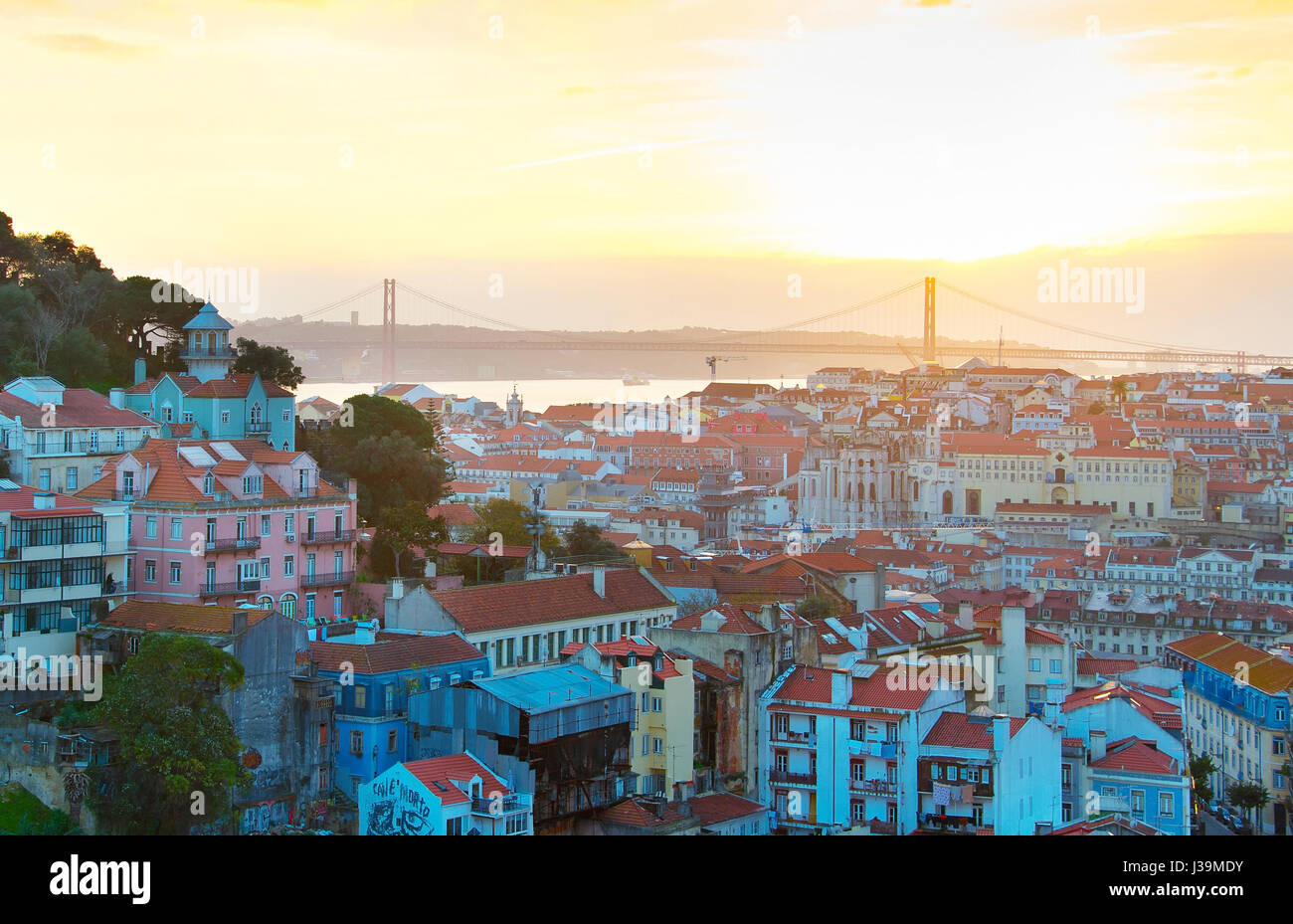 Skyline of Lisbon Old Town at sunset . Portugal - Stock Image