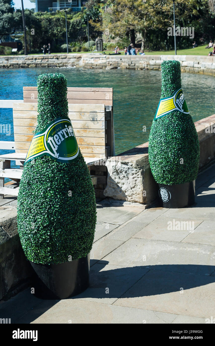 Giant perrier water bottles made of bush leaves at Elizabeth Bay, Sydney. Stock Photo