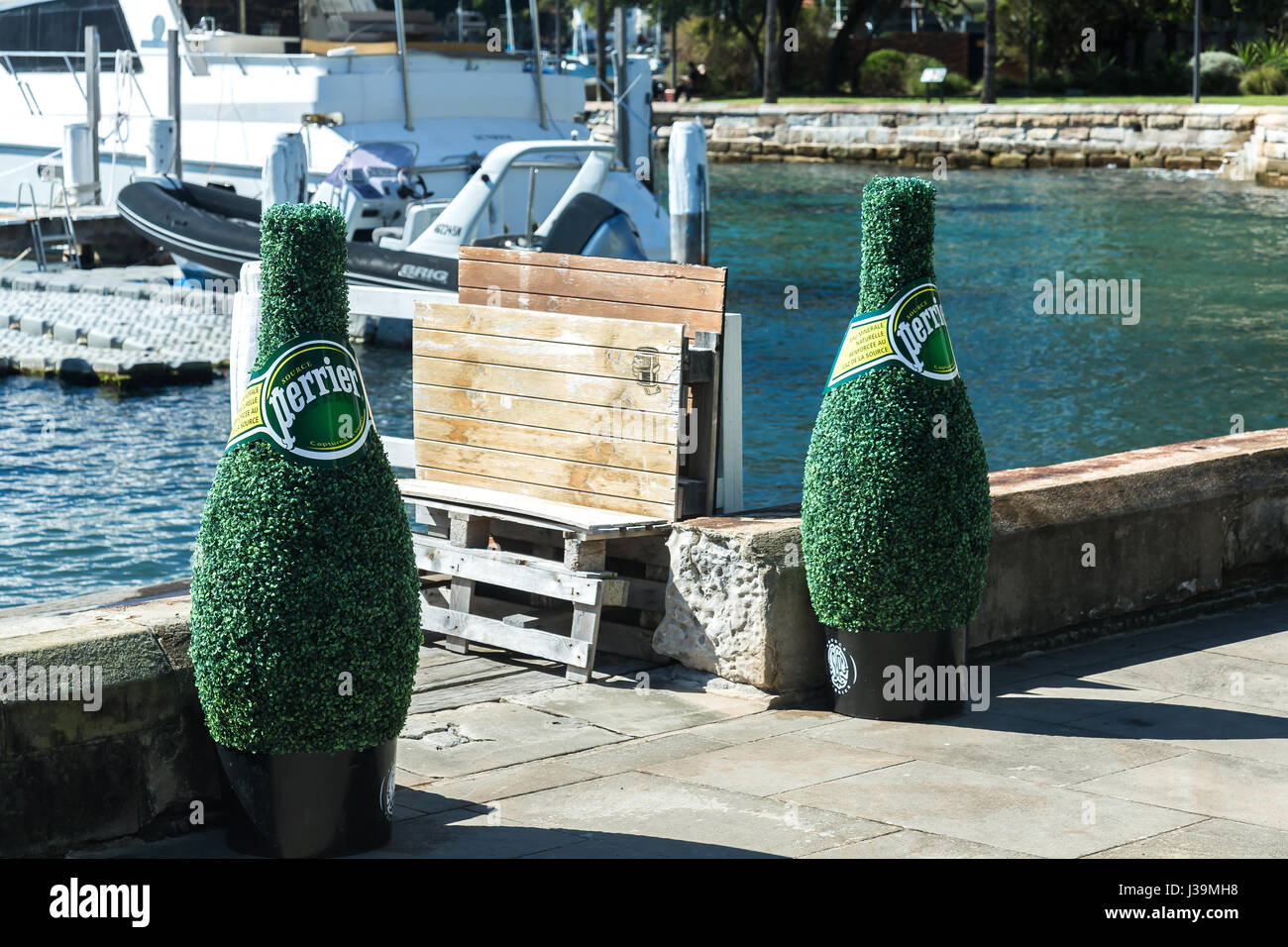 Giant perrier water bottles made of bush leaves at Elizabeth Bay, Sydney. - Stock Image