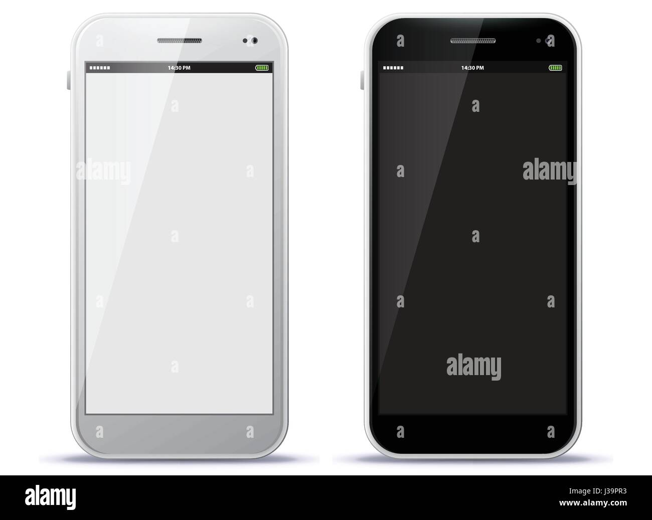 White and Black Mobile Phone Vector Illustration - Stock Image