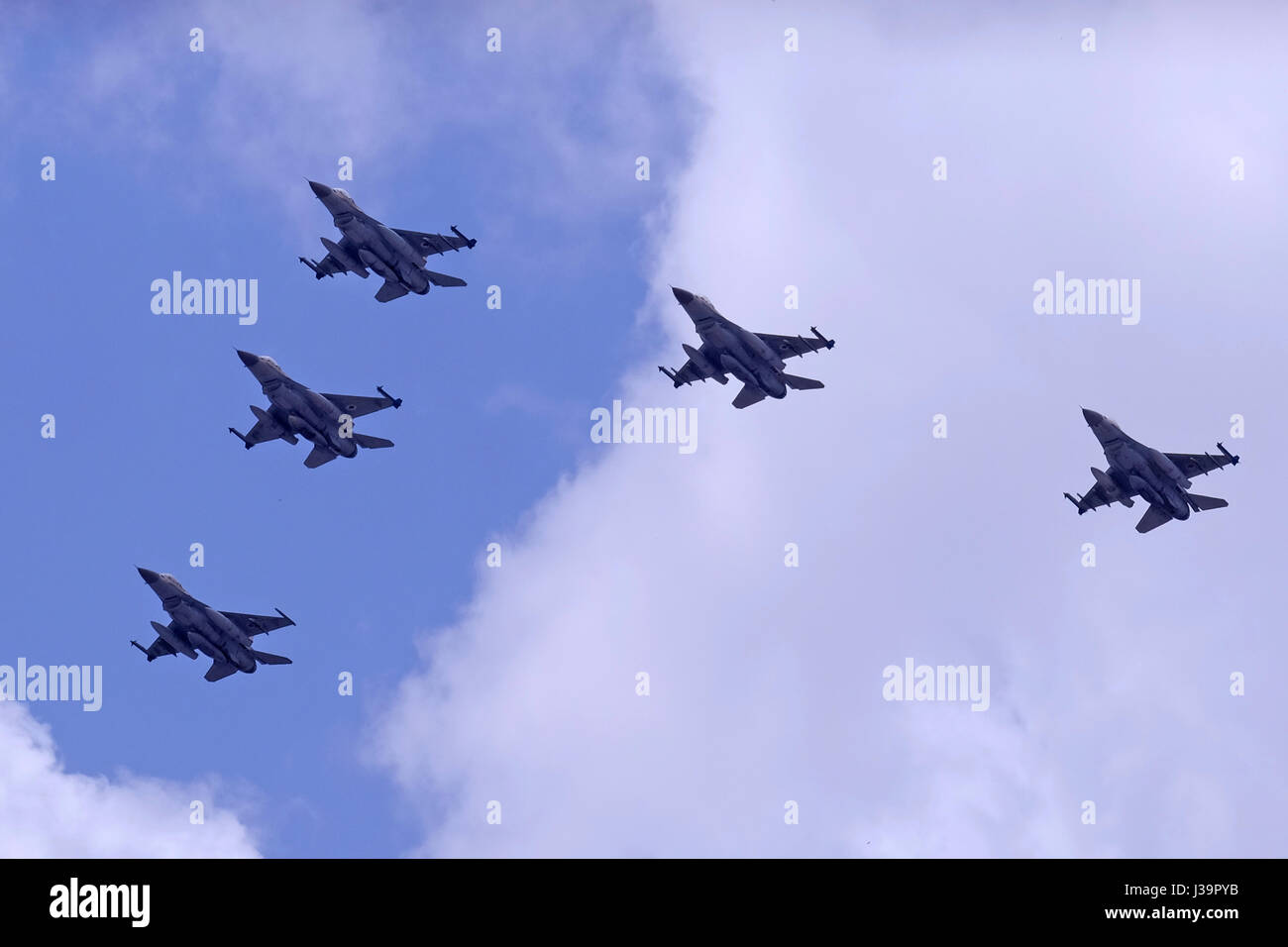 F-16D Fighting Falcon also called Barak jet fighters at an airshow of the Israeli air force. - Stock Image