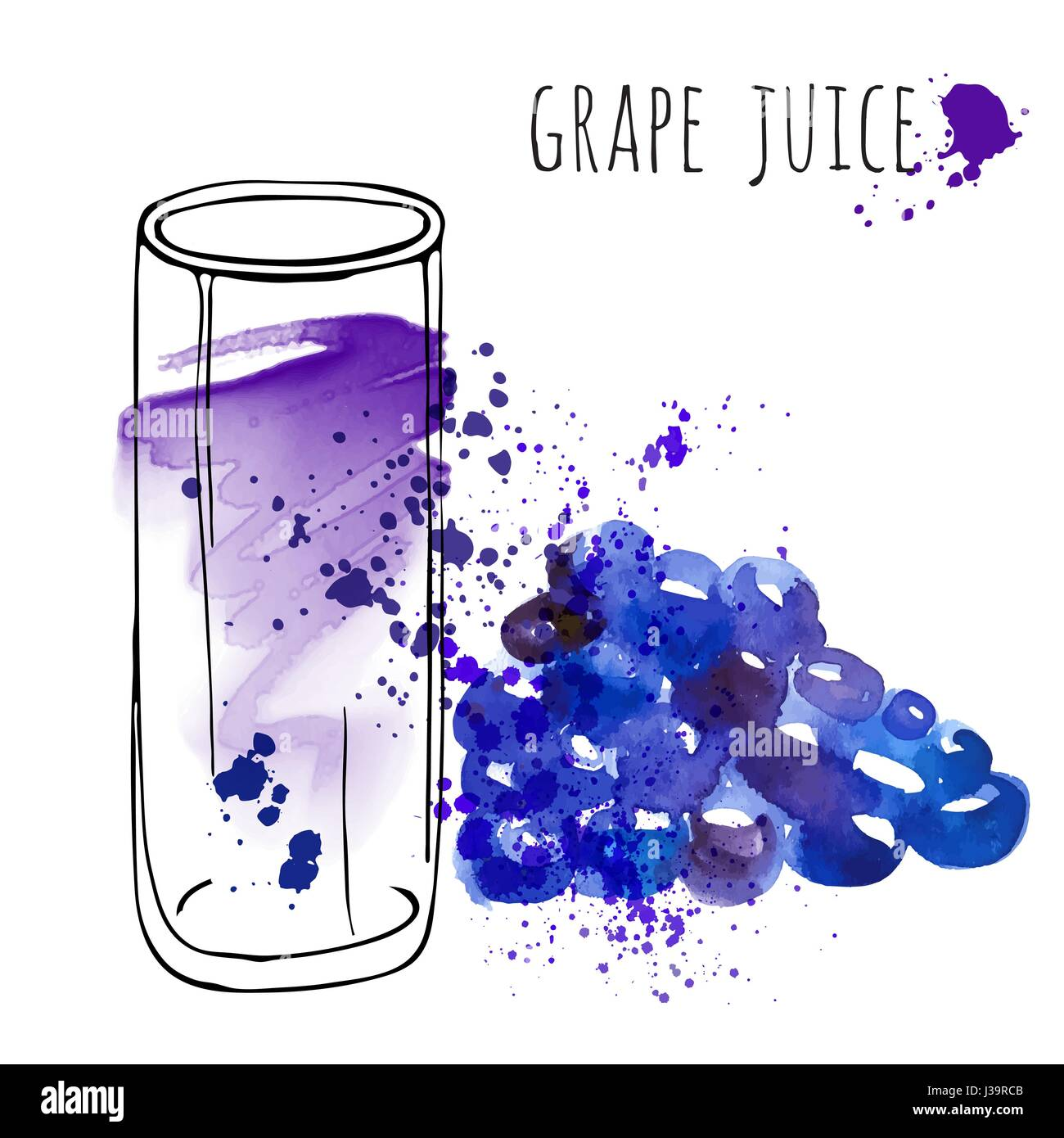 Grape juice in glass and grapevine vector illustration. Watercolor sketch about grape drink and fresh juice. Hand - Stock Vector