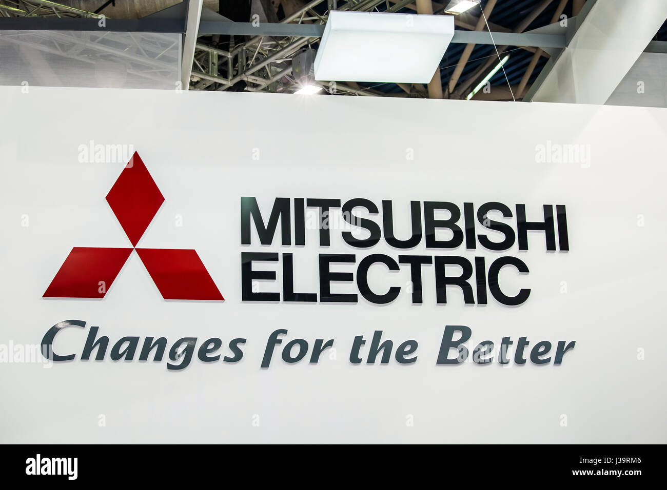 Mitsubishi Electric Company Logo On The Wall Group Japanese Multinational Companies In A Variety Of Industries