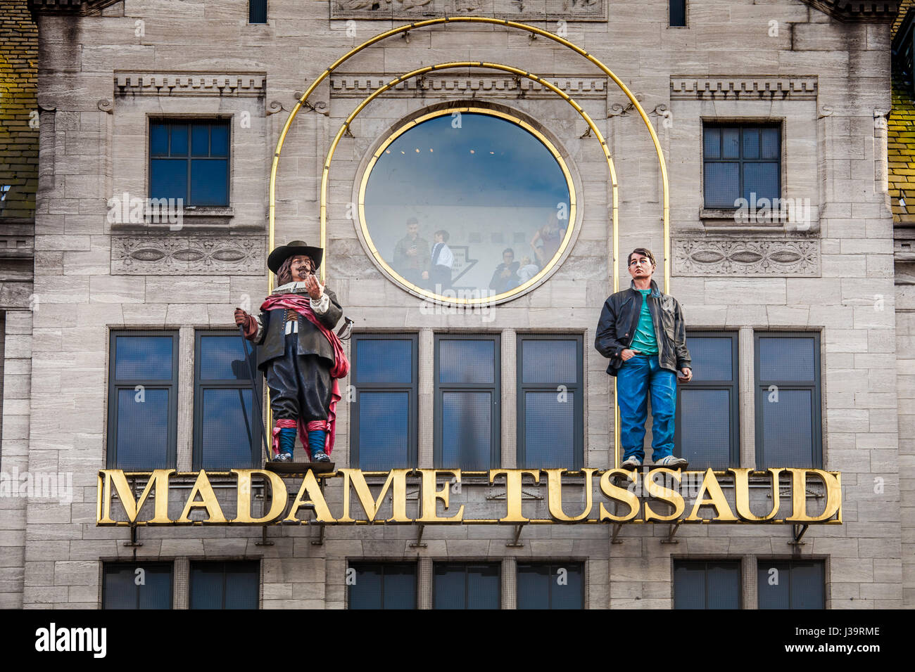 Entrance sign on the building of Madame Tussaud Museum in Amsterdam, Netherlands - Stock Image