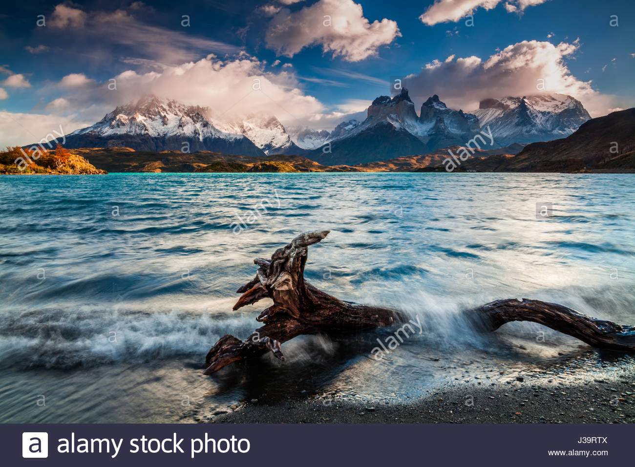 Dramatic dawn in Torres del Paine, Chile - Stock Image