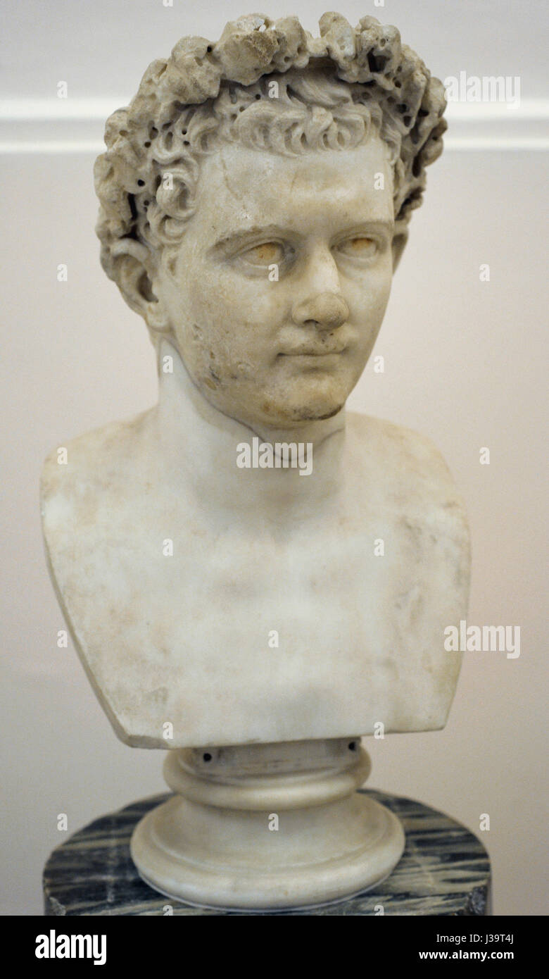 Domitian (51-96 AD). Roman Emperor. Flavian dynasty. Bust. AD 75-81. National Arhaeological Museum. Naples. Italy. Stock Photo