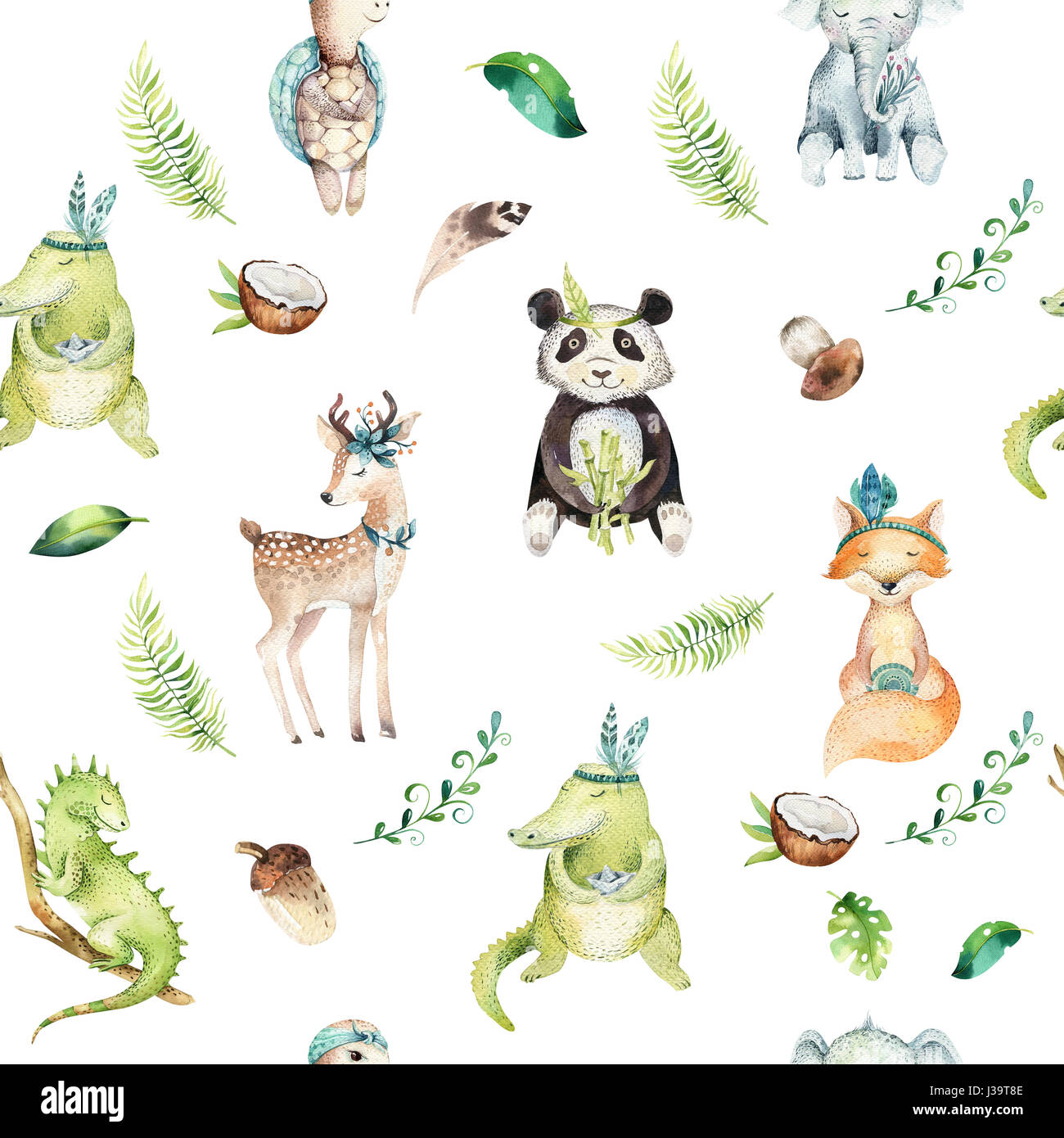 Baby Animals Nursery Isolated Seamless Pattern Watercolor