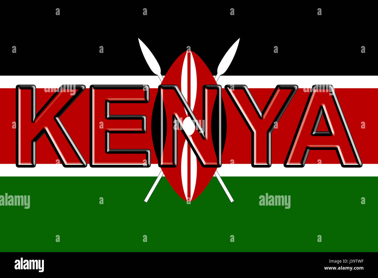 Illustration of the national flag of Kenya  with the country written on the flag. Stock Photo